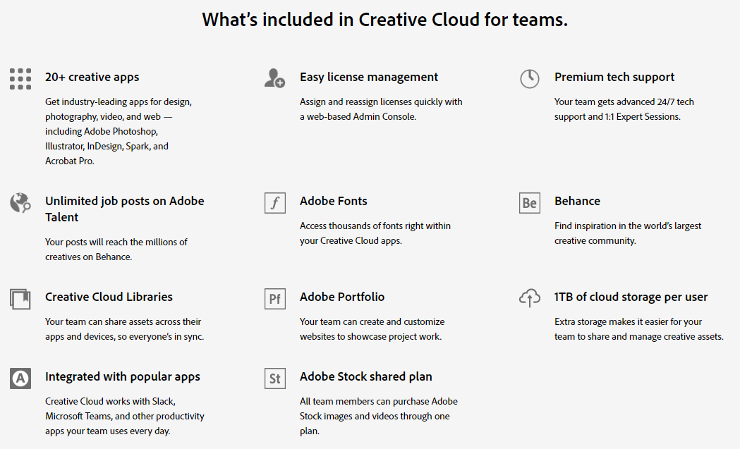 What's included in Creative Cloud for teams.